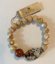 Barse Brand Shell, Wood and Jasper Round Beaded Stretch Bracelet