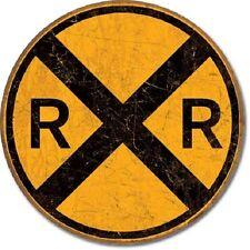 Railroad Crossing Yellow Warning RR Weathered Retro Decor Round Metal Tin Sign