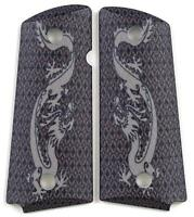 Custom Compact Officer 1911 Grips Ambidextrous Silver Dragon for Colt Sig etc.