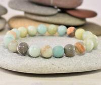 8mm Smooth Matte Amazonite Stretch Bracelet Yoga Mala Beads Meditation Prayer