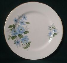 QUEEN ANNE SIDE PLATE FINE BONE CHINA SIDEPLATE BLUE FLOWERS AND GREEN LEAVES