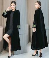 Womens Embroidery Floral Velvet Long Sleeves Trench Outwear Maxi Long Coats size
