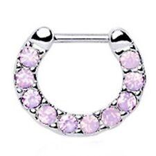 "Septum Nose Clicker Covered in Opalite Pink Gems 16 Gauge 5/16"" Steel Body Jew"