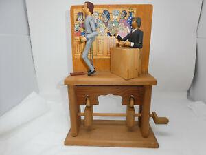 VINTAGE 1988 WOODY JONES SIGNED MECHANICAL AMUSEMENTS COURT WOOD FOLK ART TOY