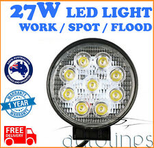 """27W 5"""" LED Work Light Waterproof Round Bar Flood Beam Offroad Driving 4WD SUV"""