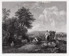 "Fabulous 1800s Nicolaes Berchem Engraving ""Pastoral Landscape"" SIGNED Framed COA"