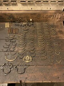 Large Mixed Joblot Of vintage brass drawer handles Etc