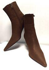 "PRADA Women's Ankle Booties Camel Leather Kitten Heel  US 6.5(M)/EUR 36 1/2/ 10"""