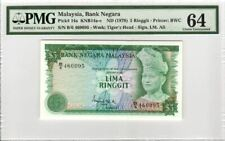 Rare Malaysia 3rd Series $5 Ringgit PMG64 No Remark Paper Banknote