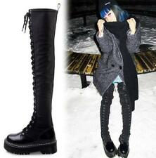 Ladies Real Leather Punk Emo Gothic Lace Up Platform Over The Knee Boots Shoes