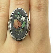 Antique Sterling Silver Very Old Handmade Multi Color Gem Flower Miniature Ring