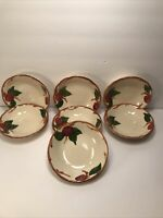 7 VINTAGE FRANCISCAN FRUIT BOWLS APPLE PATTERN CALIFORNIA USA HAND DECORATED