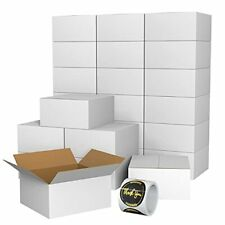 Mpedour Small Shipping Cardboard Boxes With 100 Pcs Thank You Stickers White