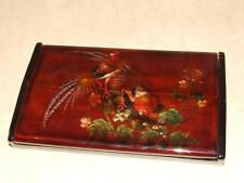 Vintage Japan Russia ? Signed Black Lacquer & Glitter Hinged Box Fire Bird Birds