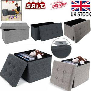 Folding Ottoman Storage Box Pouffe Seat New Footstool Storage Bench Linen Home