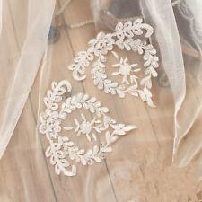 1 Pair Sequin Bridal Lace Applique Embroidery Wedding Motif Trim Craft DIY Patch