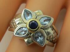 Designer Nancy & David Genuine Sapphire & Blue Topaz 14K & Sterling Silver-U1534