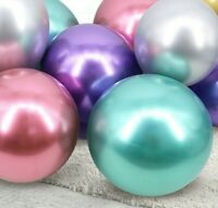 "50 Metallic Balloons Chrome Wedding Birthday Party 12"" Pearl Chrome Baloons UK"