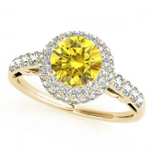 1.07 Ct Yellow Canary Diamond Double Halo 14k Yellow Gold Bridal Ring Best Deal