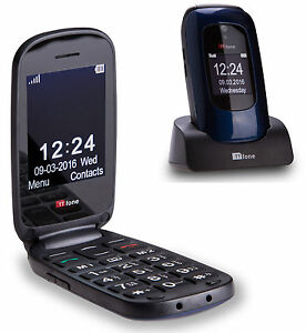 TTfone Lunar Big Button Simple Easy Large Keys Flip Sim Free Mobile Phone (Blue)