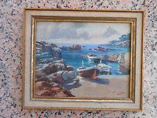 Tableau ancien peinture à l'huile sur bois signé PONSJOAN Ferran (1916-1993)