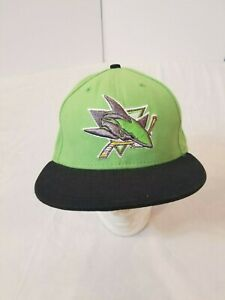 New Era San Jose Sharks Hat Lime Green Gray Size 7 3/8 Fitted NHL Hockey