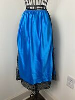 Vintage 60s Union Made Satin Blue Lace Trim Christian Dior Slip Skirt Size Small