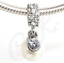 """Damen Charm """"große Cream Perle mit großem Stein"""" Anhänger 925er Silber veredelt"""