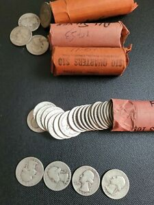 90% Silver Washington Quarters - Per Roll of 40 - $10 Face Value Circulated.