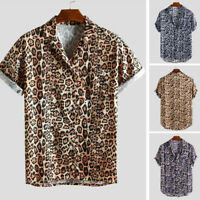 Men Leopard Print Chest Pocket Turn Down Collar Short Sleeve Casual Loose Shirt