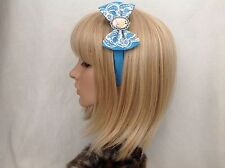 Alice in Wonderland headband hair bow rockabilly pin up girl Disney blue lace