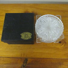 SET OF 4 VAL ST. LAMBERT CRYSTAL COASTERS IN HOLDER FLORAL DESIGN WITH BOX