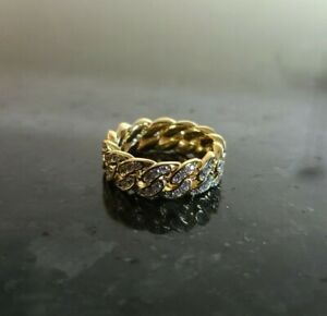 Iced Gold Miami Cuban Link Ring Size 9