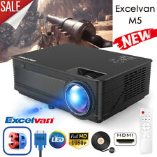 Excelvan Projector 1080P Multimedia Home Theater HDMI VGA 2018 Upgraded LED LCD