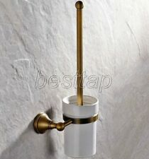 Antique Brass Home Bathroom Toilet Brush Holder + Brush Wall Mounted sba149