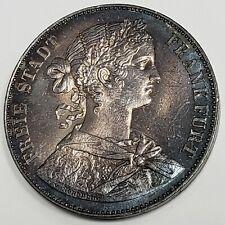 1860 Free Imp City of Frankfurt 1 Vereinsthaler Silver German States Coin @FF063