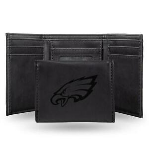 Rico NFL Laser-Engraved Black Trifold Wallet