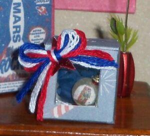 Miniature Dollhouse Boxed Christmas Ornament 4th of July Patriotic Ball Handmade