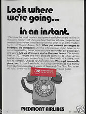 PIEDMONT AIRLINES 1971 LOOK WHERE WE'RE GOING MINUTE-REZ CENTER WINSTON/SALEM AD