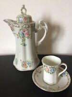 """Vtg Chocolate Pot & Cup W Saucer Hand Painted Roses Pink/Blue Japan 10"""" Tall"""