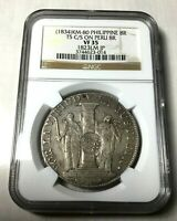 1834 Philippines c/s 1823 Peru 8 reales counterstamp UNDERGRADED NGC XF 35 pcgs