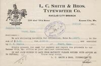 U.S. L. C. Smith & Bros. Typewriter Co. Logo 1913 Kansas Paid  Invoice Ref 43234