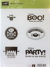 Stampin Up MONSTER MUNCHIES clear mount stamps NEW Halloween party boo spider