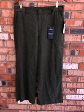 Chaps Women's 10 Olive Green Mid Rise Wide Leg Palm Point Cropped Trouser Career