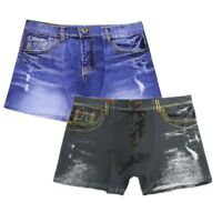 Men Demin Jeans Boxer Briefs Pouch Shorts Pants Underwear Swim Trunks Underpants
