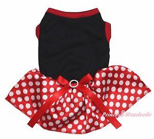 Plain Valentine Black Cotton Top Red Minnie Dots Skirt Cat Pet Dog Puppy Dress