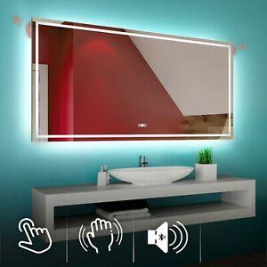 LANFENG Specchio Luminoso da Bagno del LED con Altoparlante Incorporato di Bluetooth Antiappannamento Interruttore Pad E Sensore Tattile,Neutral,50cm Funzione di Oscuramento