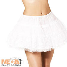 White Lace Petticoat Dancer Outfit Short Skirt Party Fancy Dress One Size