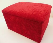 FOOTSTOOLS / POUFFES WITH STORAGE RED CHENILLE FABRIC