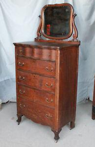Antique Oak Highboy Dresser Chest of Drawers – Original finish